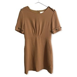 3.1 Phillip Lim camel brown dome button wool dress